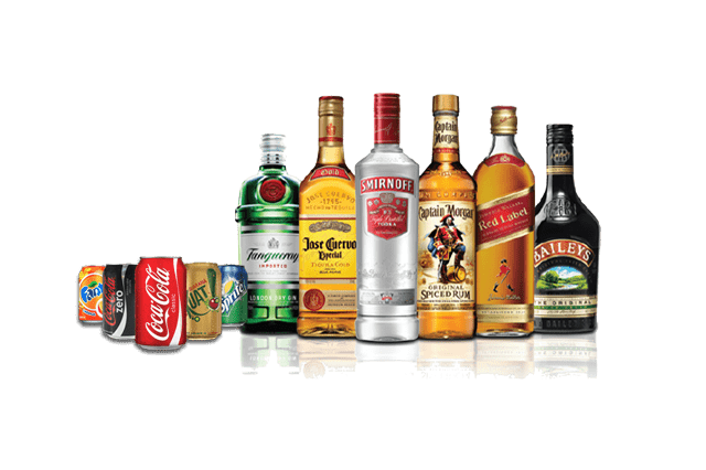 All kinds of beverages, alcoholic and non-alcoholic.